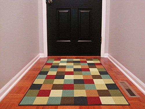 Ottomanson Ottohome Collection Multi-Color Contemporary Checkered Design Modern Area Rug with Non-Skid (Non-Slip) Rubber Backing, 3'3