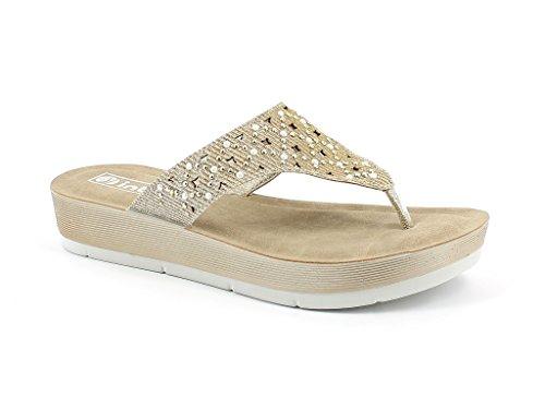 AARZ LONDON Women Ladies Everyday Diamante Casual Slip OnComfort Super Lightweight Spring Summer Sandals Shoes Size Gold