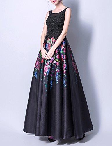 Schwarz Promkleider Partykleider Abendkleider Floral Damen Lang Print LuckyShe Ballkleid YU8vW
