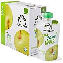 Amazon Brand - Mama Bear Organic Baby Food, Stage 1, Apple, 4 Ounce Pouch (Pack of 12)