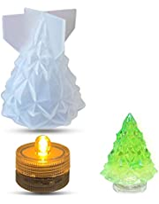 Christmas Silicone Resin Mold Set, 3D Christmas Tree Epoxy Resin Mold 1pc with Night Light 1pc, Light Holder Silicone Casting Mold, DIY Creative Handmade Crafts, Christmas Gifts, Home Decorations
