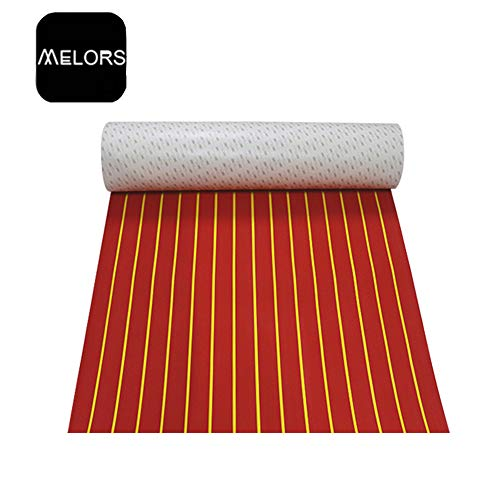 EVA Foam Faux Teak Boat Decking Sheet 94.5 × 35.4 inches Non-Skid Self-Adhesive Marine Deck Yacht Boat Flooring Mats (Red with Yellow Strips)