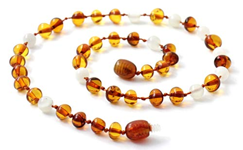 TipTop-Eco Baltic Amber Teething Necklace Made with Moonstone - 11 Inches Long - Polished Cognac Beads (Cognac/Moonstone, 11 inches) ()