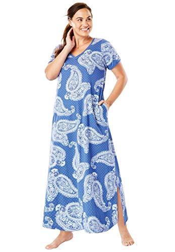 - Dreams & Co. Women's Plus Size Maxi Lounger - Blue Sapphire Paisley, 1X