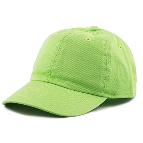 (THE HAT DEPOT Kids Washed Low Profile Cotton and Denim Baseball Cap (Lime Green))