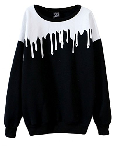 Womens Cute Oversized Sweaters Pastel Color Block Round Neck Long Sleeve Sweatshirt
