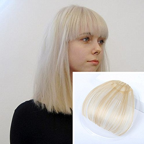 GOESSOM Human Hair Extensions #613 Bleach Blonde Clip on Air Hair Bangs Front Fringe Bangs Real Hair Pieces for Women (Bang Fringe)