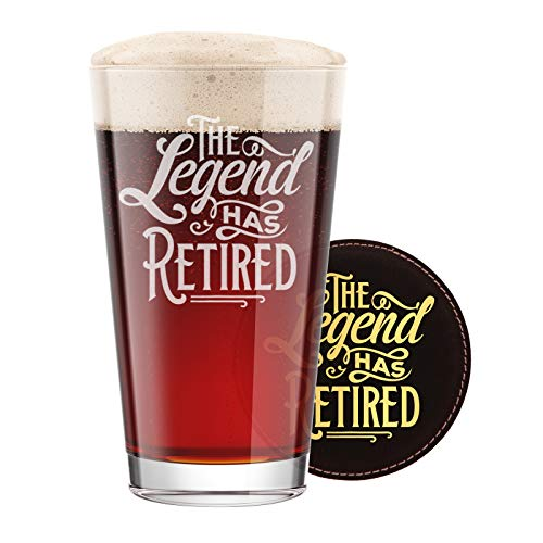 Legends Gift - BadBananas The Legend Has Retired - Funny Retirement Gifts For Men - 16 oz Engraved Pint Beer Glass with Etched Coaster -