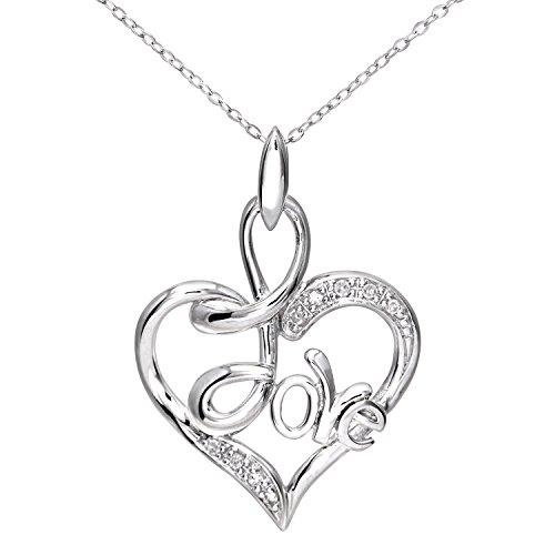 Revoni Bague en or blanc 9carats-Diamant Coeur Pendentif avec chaîne 46cm