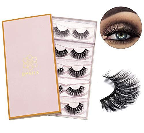 DYSILK 5 Pairs 3D Fake Eyelashes Fluffy False Eyelashes Dramatic Look Eyelashes Handmade Extension Thick Long Reusable Soft Lashes Makeup Black
