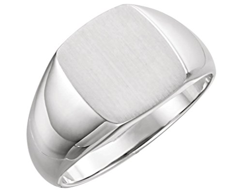 Men's Brushed Rectangle Signet Ring, Sterling Silver (13x12MM), Size 9.25 by The Men's Jewelry Store (Image #5)