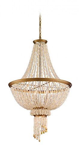 - Corbett Lighting 107-47 7-Light Bali Large Pendant Light, Champagne Leaf
