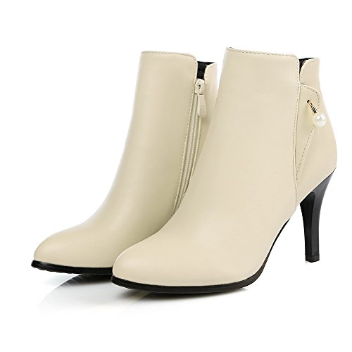 Heels High Chains Women's Beige top PU Low Solid Boots Allhqfashion tOxqwq