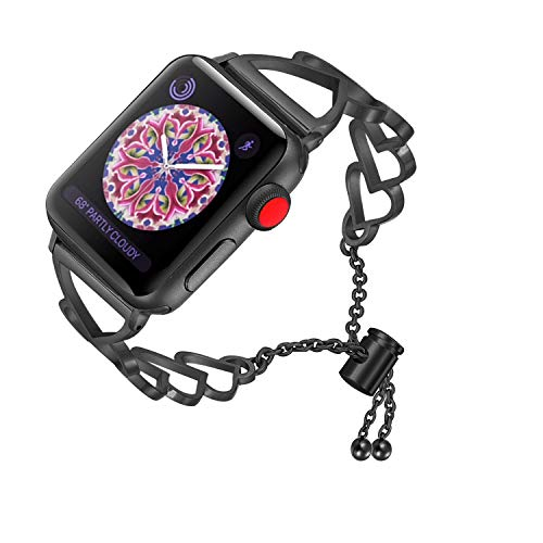 RUOQINI Compatible with Apple Watch Band,Jewelry Bangle Cuff Women Girls Adjustable Stainless Steel Bracelet for IwatchBands of Series 4/3/2/1,42mm 44mm SZ-C Black