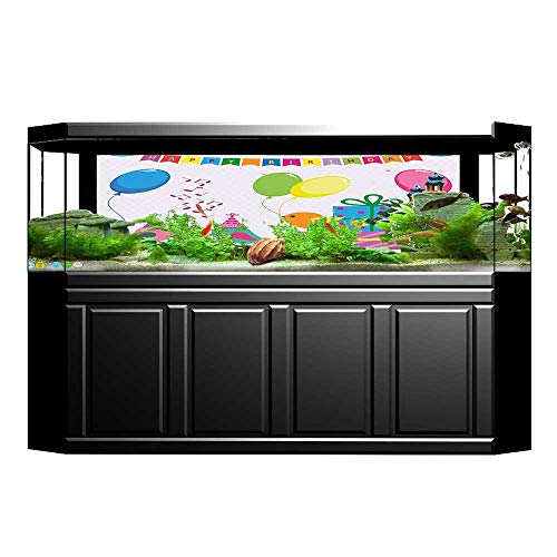 UHOO2018 Aquarium Background for Kids Singing Birds Happy Birthday Song Flags Cone Hats Party Cake Multicolor Wallpaper Fish Tank Backdrop Static Cling 23.6