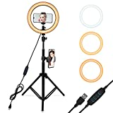 "10"" Selfie Ring Light with Adjustable Tripod Stand, 3 Modes 10 Brightness Levels with 120 LED Bulbs 5500K, LED Ring Light with Phone Holder for Vlogs, Live Stream, Phone,YouTube,Self-Portrait Shooting"
