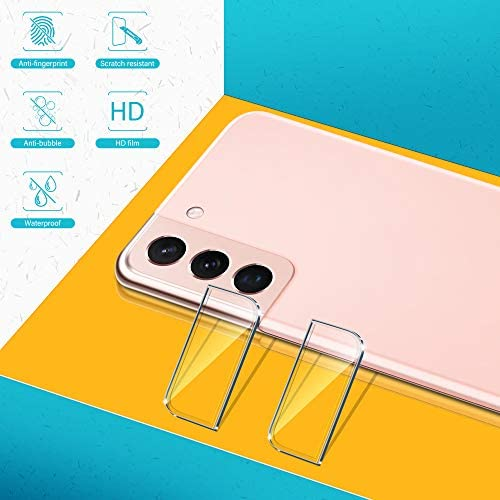[ 2+3 PACK ] UNIQUEME TEMPERED GLASS + CAMERA LENS PROTECTOR COMPATIBLE WITH SAMSUNG GALAXY S21 5G - 6.2 INCH SCREEN PROTECTOR WITH EASY INSTALLATION FRAME[HD CLEAR][9H HARDNESS].