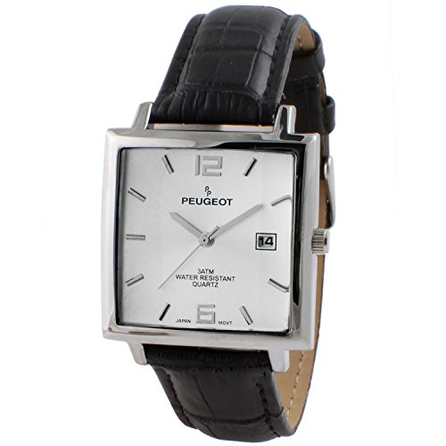 Peugeot Men's 'Modern Rectangular' Quartz Metal and Leather Casual Watch, Color:Black (Model: 2062SL)