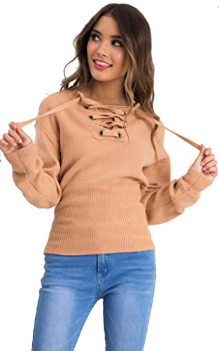 Longwu Women's Long sleeve Basic Loose Bandage Knit Pullover Sexy V Neck Sweater Coffee