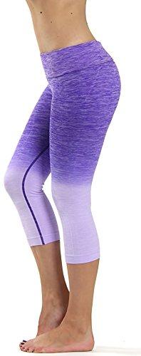 Prolific Health Fitness Power Flex Yoga Pants Leggings - All Colors - XS - XL (Large, Capri Ombre (Purple Capri Pants)