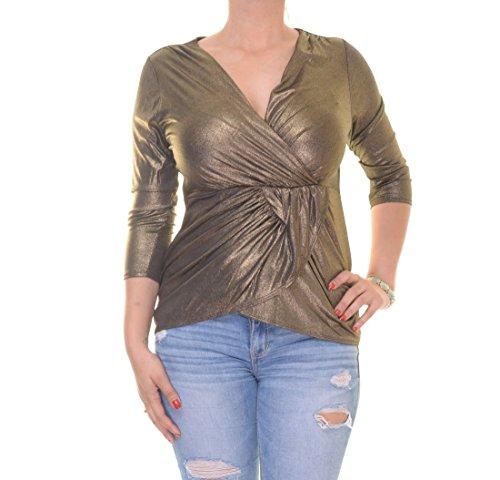 Thalia Sodi Womens Metallic Lame Wrap Top Gold M