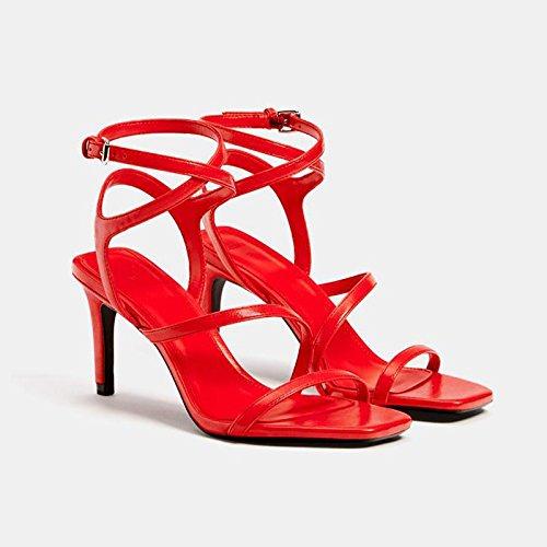 JIANXIN Alto da Sandali Primavera Rosso Tacco con Estate Ed Dimensioni 41 Donna rxrAwn