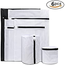 6-Pack Laundry Wash Bag, Durable Mesh Laundry Bag with Premium Zipper for Blouse, Hosiery, Stocking, Underwear, Bra and Lingerie (2 Large & 2 Medium & 2 Small)