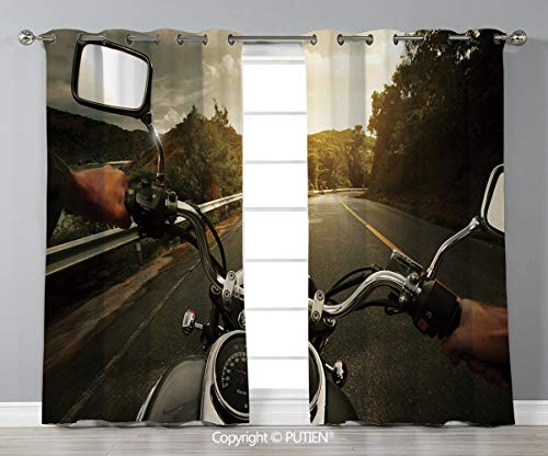 - Grommet Blackout Window Curtains Drapes [ Adventure,Rider Driving a Chopper on Asphalt Road within Forest Journey Photography Decorative,Forest Green Grey ] for Living Room Bedroom Dorm Room Classroom