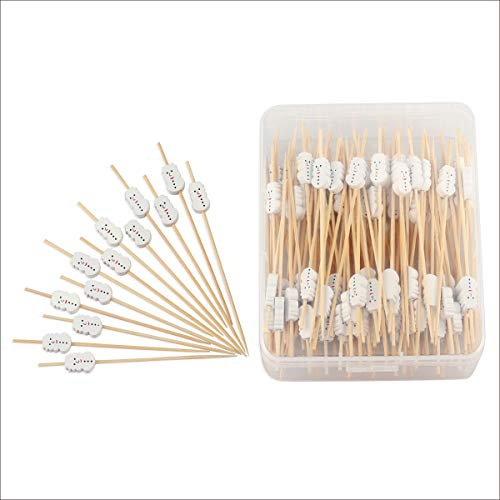 "Snowman Cocktail Picks Long Bamboo Toothpicks for Appetizers Desserts Canapes Drinks Food Kabobs Christmas Party Decorations 4.7"" 100 Counts Packed in Clear Storage Box -MSL122"