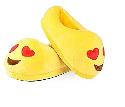 Emoción Dibujos Animados de Peluche Zapatilla, Invierno Cálida casa Zapatos Antideslizante Unisex Corazón