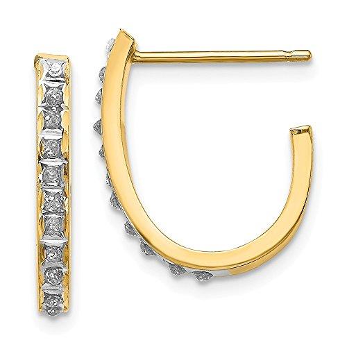Mia Diamonds 14k Yellow Gold (0.01cttw) Diamond Fascination Post J Hoop Earrings (20mm x 2mm)