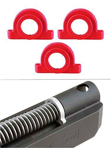 Ultimate Arms Gear Pack of 3 Red Recoil Impact Cushion Shock Absorber For Glock Pistol Models : 17, 17L, 18, 19, 20, 21, 22, 23, 24, 24C, 31, 32, and - Plug Recoil Spring