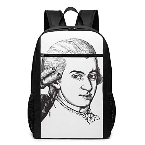 Schoolman Wolfgang Amadeus Mozart Portrait Unisex Laptop Backpack,Business Travel Computer Bag for Women and Men,School Backpack Classic Lightweight Resistant Backpack17 Inch Black