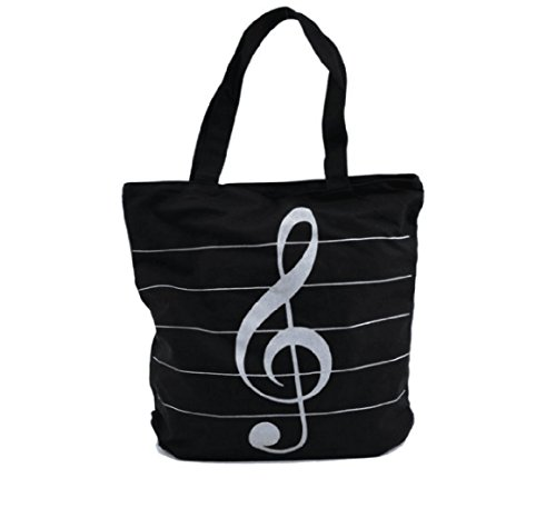 Music Symbols Print Canvas Tote - Simple Loving Music Symbols Print Canvas Tote Handbag Shoulder Shopping Bags Gift (Black-MG-345) Gallon Extra Heavy Liner