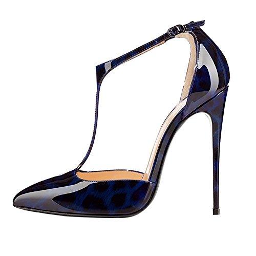 (Sammitop Women's Pointy Toe T-Bar Pumps Stiletto Heel Animal Print Shoes Leopard Blue US12.5)
