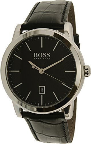 Hugo Boss Classic Stainless Steel Quartz Mens Strap Watch Black Design Dial 1513397