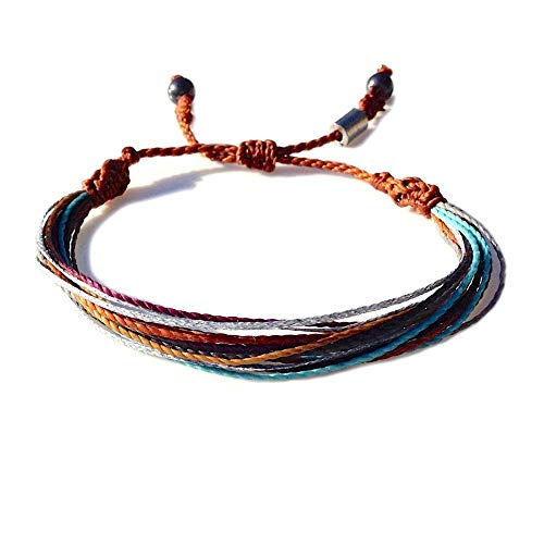 cfaa657fd829c String Surf Beach Bracelet for Men and Women with Hematite Stones in Brown,  Rust, Eggplant, Aqua, Grey and Metallic Silver: Handmade Rope Friendship ...