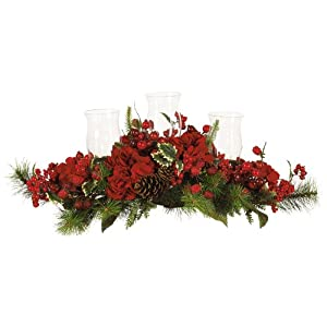 Nearly Natural 4659 Hydrangea Holiday Candleabrum, Red/Green 92
