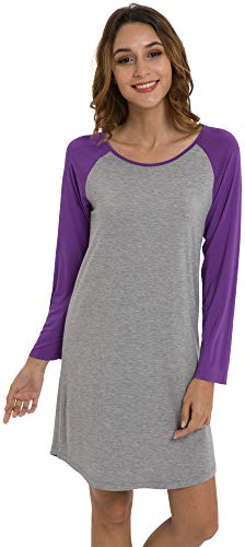 - LazyCozy Women's Long Sleeve Bamboo Nightgown, Lilac, Large