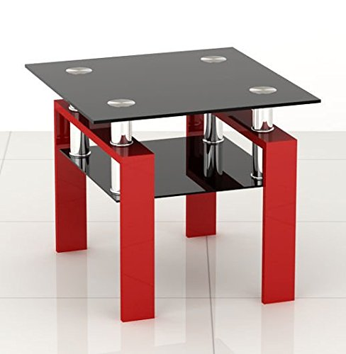 Littleborough Furniture Company Square Black Glass Coffee Side End Table with Red Legs