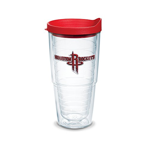 Tervis 1051619 NBA Houston Rockets Primary Logo Tumbler with Emblem and Red Lid 24oz, Clear by Tervis