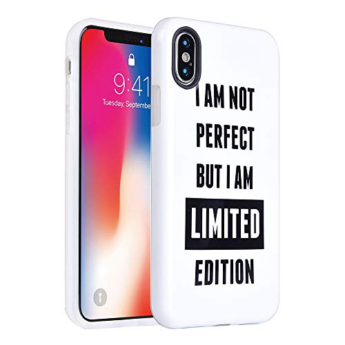 KIMICO iPhone X Case Cute Funny Quotes Cartoon Design [Shockproof][Supports Wireless Charging][Slim Fit][Anti-Scratch/Anti-Fingerprints] Flexible TPU Protective Cover (Limited X)