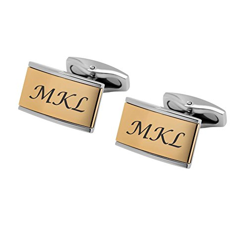 Set Two Tone Cufflinks - Personalized Silver & Gold Two Tone Cufflinks Custom Engraved Free