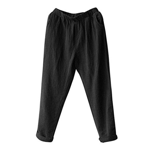 (Aurorax Mens Casual Linen Pants,Elastic Waist Summer Beach Pants Trousers (Black, M=Waist:22.8