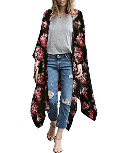 Women's Cover up Robe Blouse Boho Floral Kimono Cardigan Capes Loose Black XXL