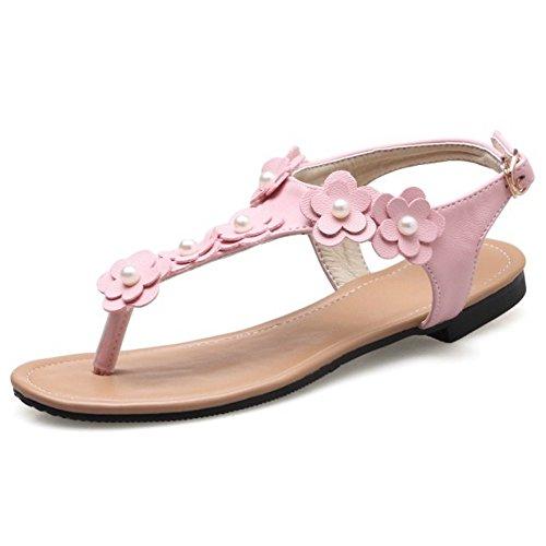COOLCEPT Femme Mode Sangle De Cheville lacets sandales Plat Clip Slingback Chaussures Avec Fleur taille Rose 4U7zV