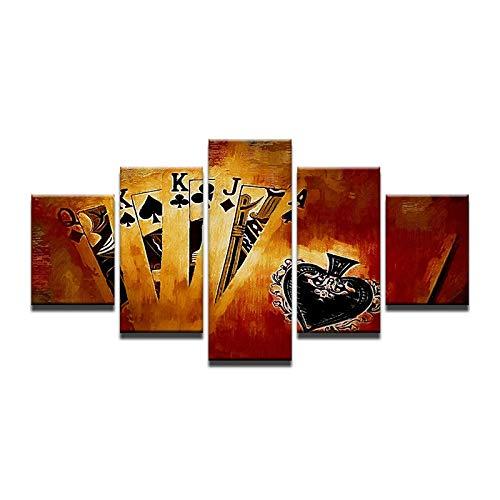 40x60 40x80 40x100cm No Frame Retro HD Print 5pcs Canvas Wall Art Abstract Poker Print Painting Modern Home Decor 5 Pieces Canvas Wall Art Painting