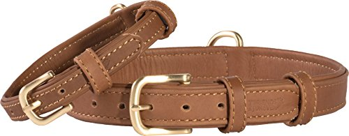 Tan Dog Leather Collar - Friends Forever Genuine Leather Collar, Soft Touch Leather Dog Collars for Small Medium Dogs, Size Small