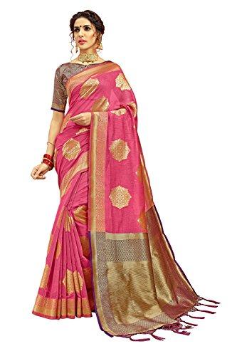 Designer Sarees Woven Work Banarasi Silk Saree for women With Unstitched Blouse Piece (Pink 2) (Dress Georgette Two Piece)