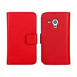 Fadlike Cowskin Fadlike Flip Leather Wallet Card Pouch Stand Back Case Cover For Samsung Galaxy Trend Plus S7580 Red
